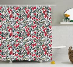 Kırmızı Çiçekli Duş Perdesi Gri Şık Tasarım Trend
