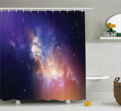 Yıldız Temalı Duş Perdesi Lacivert Gökyüzü Uzay