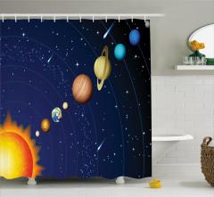 Güneş Sistemi Temalı Duş Perdesi Uzay Lacivert Evren