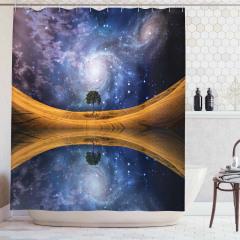 Yıldızlar ve Gökyüzü Temalı Duş Perdesi Göl Lacivert