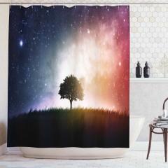 Ağaç ve Uzay Temalı Duş Perdesi Yıldız Galaksi Evren