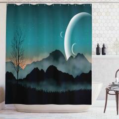 Dağ ve Gezegen Temalı Duş Perdesi Yeşil Ay Yıldız