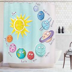 Güneş Sistemi Temalı Duş Perdesi Çocuk İçin Mavi