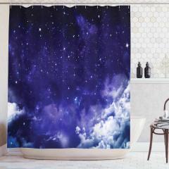 Gökyüzü ve Yıldız Temalı Duş Perdesi Lacivert Uzay