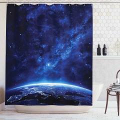 Uzay Temalı Duş Perdesi Lacivert Yıldız Dünya Gece