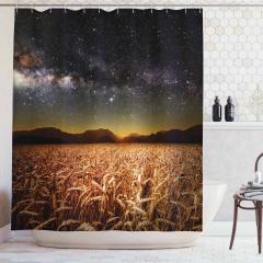 Buğday Tarlası Temalı Duş Perdesi Yıldız Gökyüzü