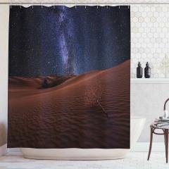 Çöl ve Yıldızlı Gökyüzü Temalı Duş Perdesi Lacivert