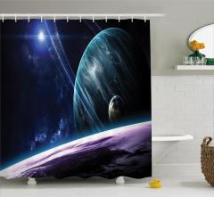 Uzay Temalı Duş Perdesi Lacivert Gezegenler Şıl