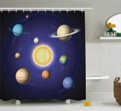 Güneş Sistemi Temalı Duş Perdesi Uzay Şık Tasarım
