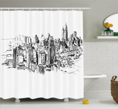 New York Temalı Duş Perdesi Siyah Beyaz Trend Şık