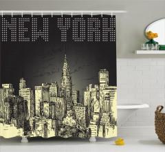 New York Temalı Duş Perdesi Siyah Gri Şık Tasarım