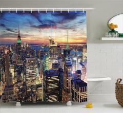 Gün Batımı Manzaralı Duş Perdesi New York Gökdelen