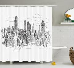 New York Temalı Duş Perdesi El Çizimi Siyah Beyaz