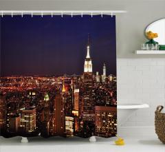 New York Geceleri Temalı Duş Perdesi Altın Lacivert