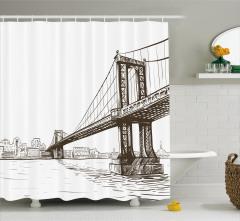 Köprü Desenli Duş Perdesi El Çizimi Şık Tasarım