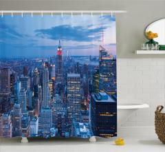 New York Manzaralı Duş Perdesi Mavi Şık Tasarım