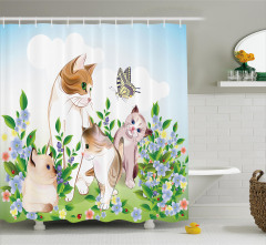 Kedi Desenli Duş Perdesi Yeşil Mavi Çiçek Kelebek