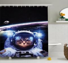 Astronot Kedi Temalı Duş Perdesi Siyah Uzay Şık