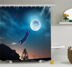 Ay'a Atlayan Kedi Temalı Duş Perdesi Mavi Yıldız Şık