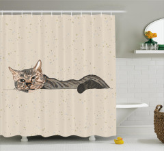 Kedi Desenli Duş Perdesi Bej Trend Şık Tasarım Çizim