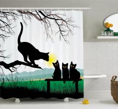 Kara Kedi Temalı Duş Perdesi Ağaç Yavru Anne Şık