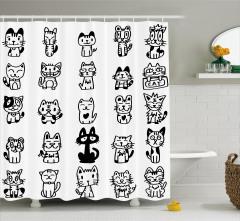 Sevimli Kedi Temalı Duş Perdesi Elle Çizim Şık Siyah