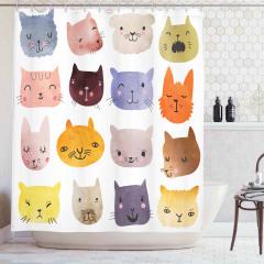 Rengarenk Kedi Desenli Duş Perdesi Şık Tasarım Trend