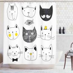 Siyah Beyaz Kedi Desenli Duş Perdesi Şık Tasarım