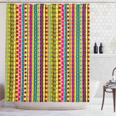 Rengarenk Çizgili Desenli Duş Perdesi Geometrik Şık