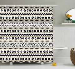 Çizgili Desenli Duş Perdesi Siyah Altın Yaldız Beyaz