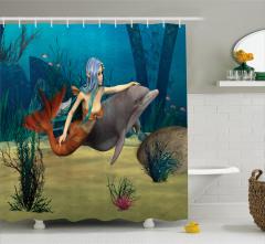 Yunus ve Deniz Kızı Temalı Duş Perdesi 3D Mavi Şık