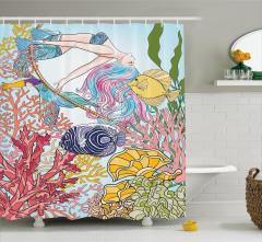 Deniz Kızı ve Balık Desenli Duş Perdesi Mavi Trend