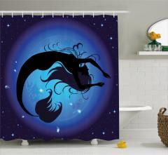 Mavi Ay ve Deniz Kızı Temalı Duş Perdesi Şık Tasarım
