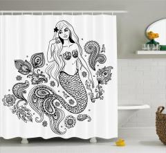 Güzel Deniz Kızı Temalı Duş Perdesi Siyah Beyaz Şık