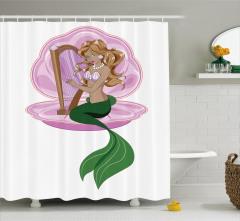 Arp Çalan Deniz Kızı Desenli Duş Perdesi Mor Yeşil