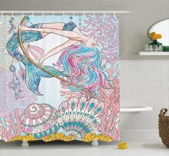 Deniz Kızı ve Kabuk Desenli Duş Perdesi Pembe Mavi