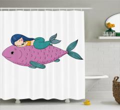 Mor Balık ve Deniz Kızı Desenli Duş Perdesi Çocuklar