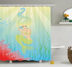Salyangoz ve Deniz Kızı Desenli Duş Perdesi Çocuklar