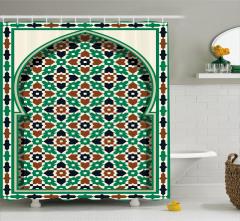 Yeşil ve Kahverengi Desenli Duş Perdesi İslam Etkili