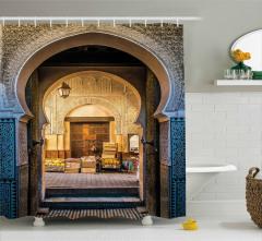 Şık Kemerli Kapı Temalı Duş Perdesi Doğu Mimarisi