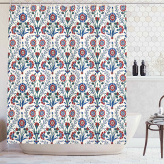 Bordo Mavi Çiçek Desenli Duş Perdesi Şık Çeyizlik