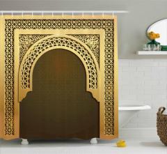 Krem Kahverengi Kapı Desenli Duş Perdesi Dekoratif