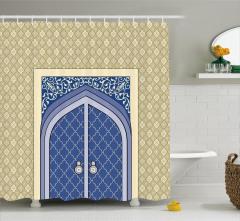 Krem Lacivert Kapı Desenli Duş Perdesi İslam Etkili