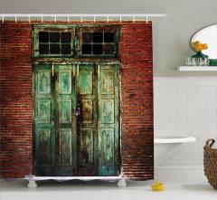 Yeşil Kapı Tuğla Duvar Temalı Duş Perdesi Şık Trend