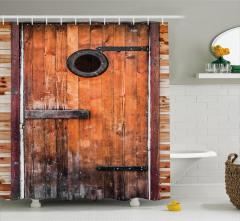 Kahverengi Ahşap Kapı Temalı Duş Perdesi Dekoratif