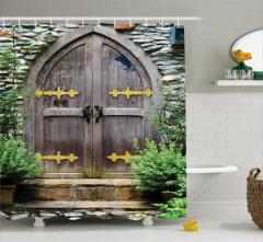 Antik Ahşap Kapı Temalı Duş Perdesi Altın Menteşeli