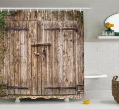 Antik Ahşap Kapı Temalı Duş Perdesi Şık Dekoratif