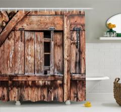 Nostaljik Ahşap Ev Temalı Duş Perdesi Şık Kahverengi