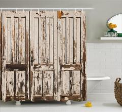 Nostaljik Ahşap Kapı Temalı Duş Perdesi Dekoratif