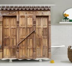 Oymalı Kahverengi Kapı Temalı Duş Perdesi Dekoratif